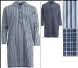 MENS WOVEN TC NIGHTSHIRT STRIPED & CHECKED